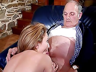 Nobody knows how this old pervert does it, but he seduces another younger chick and she loves his old hairy cock