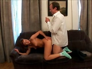 Gorgeous young girl with nice tits and sexy lips gets banged by her old professor.