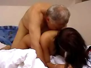 Teen brunette pussy gets seduced by a horny old fucker in the bedroom