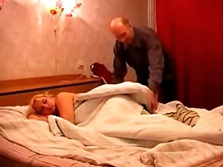 Hot young slut gets fucked senseless by a mature dick in the bedroom