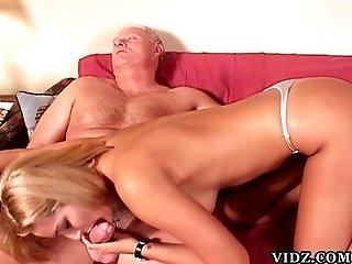 HOrny bitch Summer never gets enough of sucking on an enormous cock as she gets drilled vigorously in her horny slit!
