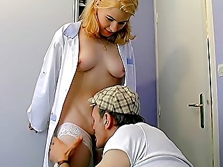 Depraved grandpa pretends sick to seduce a cute nubile nurse and she lets him kiss and finger her young hairy pussy