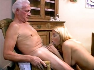 Babe enjoys a senior cock
