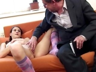 Wrinkly old bloke sticks his big fat cock into a young innocent schoolgirl�s fresh lips.